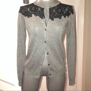 Zara Grey cardigan with black lace shoulders